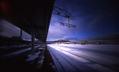 (shikihan) Tags: winter snow 120 station japan holga hokkaido pinhole velvia 6x9 medium fujichrome hakodate