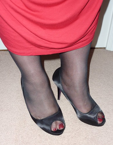 high toes heels painted and Pantyhose