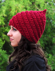 Gnome Hat - Spiral (CreatiKnit) Tags: winter red wool hat woodland spiral costume gnome knitting pattern pointy knit super pixie yarn elf cap fantasy accessories pdf knitted beanie tutorial knitter bulky accessory creatiknit