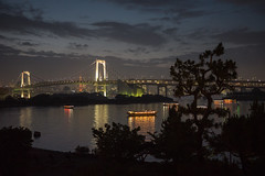 Rainbow Bridge & yakatabune (koalie) Tags: trees vacation sky reflection water silhouette japan night clouds tokyo boat nightshot cloudy jp tokyotower minato rainbowbridge yakatabune 2013060727japan