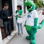 Zmajček in hostesa Agencija 22, promocija NK Olimpija. Foto SPS