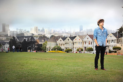Alex Gold Wolf @ Alamo Square, San Francisco 2013 (alex poulin) Tags: sanfrancisco california travel summer urban fog skyline fullhouse paintedladies alamosquare 2013