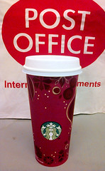 Working Hard (buckbeak888) Tags: postoffice starbucks latte