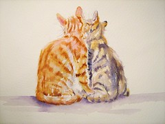 BROTHERS (GREY PEPPER ART) Tags: cats pets cute animals chats kittens watercolour