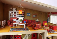 Lundby living room - Wohnzimmer (*blythe-berlin*) Tags: orange vintage göteborg toys dolls furniture gothenburg 70s möbel byebye spielzeug dollhouse caco jahre puppenhaus lundby 70ziger biegepuppen doll´shouse