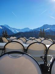 terrasse on the alps (Riex) Tags: winter snow mountains alps alpes restaurant switzerland suisse chairs swiss hiver terrasse neige wallis chaises valais montagnes alpage creusaz lacreusaz s95 canonpowershots95