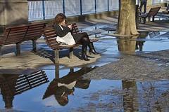 (davidkhardman) Tags: street portrait reflection london rain weather puddle southbank canonefs18200mmf3556is