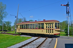 Across the diamond at Exporail (Michael Berry Railfan) Tags: museum quebec trolley diamond streetcar exporail stconstant mtc1959