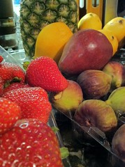 Do we just love market day? (OldUncleMe) Tags: red food green yellow fruit pears strawberries sugar pineapple granite figs serve mangos iphone starch