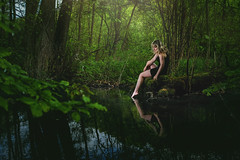 Forest Fairy (Tomas.Kral) Tags: woman hot green water girl female forest leg fairy fujifilm strobe speedlite strobist yn560ii x100s