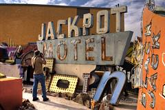 Scott L Miller Photographing the Jackpot Motel Sign in HDR (eoscatchlight) Tags: sign lasvegas nevada neonsign retired hdr rustyandcrusty yesteryear photomatix jackpotmotel calnevari ofdaysgoneby neonsignmuseum