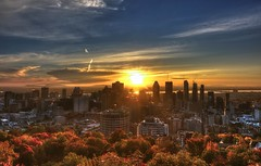 Montreal sunrise (sherbypictures) Tags: fall autumn canada quebec skyline montreal downtown
