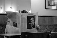 Newsreader ;-) (PIXXELGAMES - Robert Krenker) Tags: newspaper news cafe kaffee vienna wien snapshot unknown candid portrait portret schwarzweiss blackandwhite blacknwhite bnw fujifilm fujinon filmsimulation lifestyle street streetstyle beautiul highiso atmosphere soul