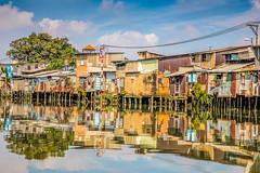 No Parking (cheezepleaze) Tags: river reflection houses vietnam saigon mekongriver transport