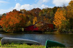 Autumn in New England (Doreen Bequary) Tags: autumn fallfoliage pond connecticut newengland d500 trees colorful canoe leaves folliage barn automne nikon