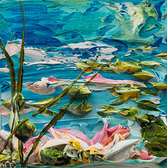 JUSTIN GAFFREY-WS12X12-2016-213 (Justin Gaffrey) Tags: waterscape water lillies waterlillies lilliepads reeds nature lake art artist painting acrylicpaint blue green justingaffrey 30a sowal florida