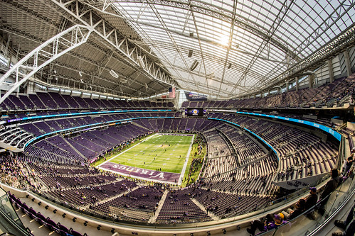 US Bank Stadium - The New Home of the Minnesota Vikings seen from the Upper Deck - Fisheyed