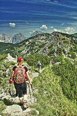 Hiking is cool (Kike K.) Tags: landscape mountain people cloud clouds sky light sun sunlight amateur july 2015 summer estate krvavec grintovec karavanke hiking walk nature natural color blue green hdr canon red hot climbing weather flowers outdoor hill flora fauna field meadow ridge grass europe slovenia alps adria
