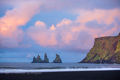Dusk at Vik in Iceland (600tom) Tags: iceland vivid seascape ocean water black sand mountain clouds pink vik green sky dusk sunset travel holidays nordik icelander viking