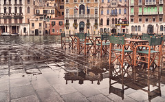wet (poludziber1) Tags: city colorful cityscape street skyline water chair italia italy river venice venezia europe green urban travel old