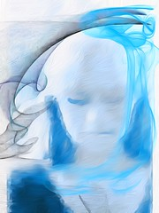 The Blues (lindyginn) Tags: blue ipad iart photo girl drape dream ethereal surreal blonde ghostly apparition dark sad melancholy other world magic light erase blurred