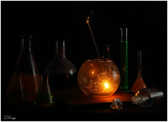 Mad Science (Donna Rowley) Tags: sparklers fire flame sparks halloween glass flask science weird dangerous funky flasks cylinders laboratory