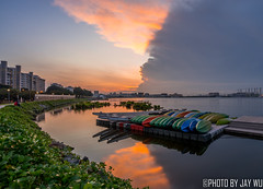 Sunrise at pandan reservoir (jaywu429) Tags: sony singapore sky skyline sonycamera sonya7r sunrise sub sun boats buildings lake reservoir pandan reflection clouds morning landscape outdoor explore inexplore hdr