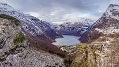 Panoramic View of Geirangerfjod - Geiranger, Norway.jpg (SWTRIPS) Tags: fjord geiranger mountain flam coastal route scandinavia roadtrip norway swtrips viewpoint snow coastalroute
