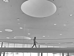 bridge and bubbles (heinzkren) Tags: mann man brcke bridge lichtkuppel architektur decke wien vienna austria campus erste lights ceiling glas street weg bergang way lighting heaven himmel indoor panasonic lumix office bro zentrale bank beleuchtung gelnder licht modern geometry blackandwhite bubble blasen