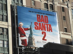 Bad Santa 2 Mini Billboard 7925 (Brechtbug) Tags: bad santa 2 mini billboard ad movie poster police lab scientist 2016 nyc 11182016 near 34th street 7th ave new york city billy bob thornton statue liberty ads advertisement christmas rockefeller center sleeping drunk drunkard nap napping slumber suit costume holiday holidays november thanksgiving film movies cinema films