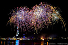 Gunwarf Fireworks (crhobbs89) Tags: firework bonfirenight nightscape waterscape portsmouth gunwarfquays spinnakertower night explosion celebration colour citybynight