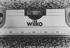 Day 337, 2016, a photo a day. (lizzieisdizzy) Tags: rule ruler straight edge millimetre millimeters level spirit spiritlevel carpet speckled measure metric