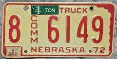 NEBRASKA 1972-75 ---4 TON COMMERCIAL TRUCK PLATE (woody1778a) Tags: nebraska usa registrationplate numberplate licenseplate mycollection myhobby collection collector alpca1778