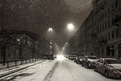 Evening snow delivery (Suicidal_zombie) Tags: russia russie saintpetersburg stpetersburg saint petersburg beautiful dark darkness low light evening snowstorm blizzard street streetlife life city winter vasilyevskiy island walkby walking snow snowfall scenery town frost landscape