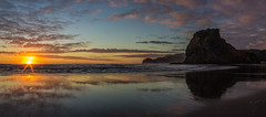 Perfect Piha (zebedee1971) Tags: landscape sun sunlight sunset light sand surf beach waves sky cloud orange water sea ocean tasman land hill lion rock auckland coast west reflection wet