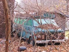 1970'S CHEVYVAN 30 LEFT TO ROT (richie 59) Tags: ulstercountyny ulstercounty newyorkstate newyork unitedstates sunday weekend autumn generalmotors chevrolet nystate abandoned richie59 america outside townofrosendaleny townofrosendale fall van nov272016 2016 rosendaleny rosendale nov2016 chevyvan30 chevyvan abandonedvan 2010s 1970svan americanvan usvan gmvan gm automobile auto motorvehicle vehicle hudsonvalley midhudsonvalley midhudson nys ny usa us weeds trees vines overgrown bluevan oldvan frontend grill headligts faded fadedpaint rustychevyvan rustyvan rustychevy rusty rusted rusting rust rustedout oldchevyvan wornout chevy oldschoolvan