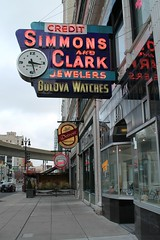 Simmons & Clark (Flint Foto Factory) Tags: detroit michigan urban city winter december 2016 downtown grandcircuspark theater theatre district mini holiday pre christmas vacation extended weekend simmons clark jewelers since 1925 1535 broadwayst broadway classic vintage neon sign signage store front reflection entrance clock bulova watches