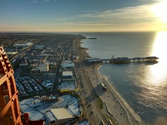 View South From Blackpool Tower (deanhammersley) Tags: blackpool tower view top pier sea sunset
