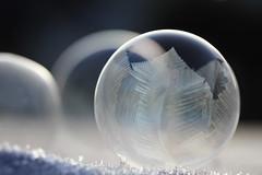 kristallkugel im schnee (bauingenieuse) Tags: seifenblase bubble frieren einfrieren frozen freezing winter frost blue blau morgen sonnenaufgang sunrise 2016 bauingenieuse cold kalt pustefix spiegelung mirroring refelxion rund round eiskristall eisblume hach