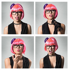 A Little Fun in The Studio (awallphoto) Tags: alexis pink arizona portrait 35mm hair asian glasses az olympus personality 100mm telephoto ft f2 pinkhair zuiko tempe 43 omd shg bwfilter m43 zd mft fourthirds awall em5 35100mm aaronwallace missalexis microfourthirds arizonahiphop awallphoto awallphotocom omdwithshglenses omdwith35100mm
