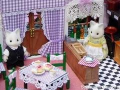 Sylvanian Families Harvester Restaurant (ladykirstie) Tags: pink flowers food brown house green kitchen toys restaurant doll dolls purple chairs lace critter small families craft tiny tables calico critters harvester minature sylvanianfamilies sylvanian