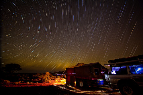 Camping under a Mount Burges Star Trail.