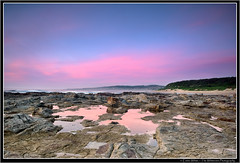 Southwards (Emma White ( ... somewhere ... )) Tags: panorama lake reflection beach water swansea clouds sunrise newcastle nikon rocks platform nsw macquarie chalky autopanopro 3image d7100 chalkybeach thewhiteview