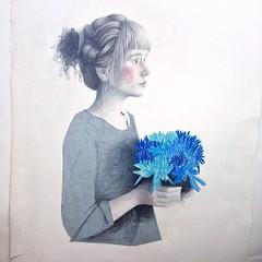 """Blue"" (ELI m RUFAT) Tags: blue portrait plant flower color art collage illustration pen pencil paper print book sketch mix media artist graphic artistic drawing brush charcoal draw now dibujo ilustracion realism realistic artnerd elimrufat"