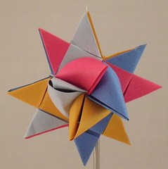 Blue Gray Red Ochre classic (lacecrazy) Tags: paperfolding paperstrips cherrybluegoldandgray foursidedstars