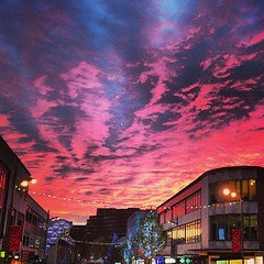 Pink sky over the The Moor (j*a*n*i*n*e) Tags: christmas pink sky clouds square evening sheffield christmastree squareformat redsky moor pinksky mayfair southyorkshire 2013 themoor iphoneography moormarket instagramapp uploaded:by=instagram