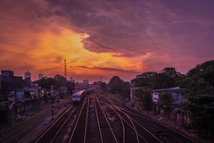 """Dramatic Sunset over Railway Tracks <a style=""""margin-left:10px; font-size:0.8em;"""" href=""""http://www.flickr.com/photos/40608624@N00/11769872203/"""" target=""""_blank"""">@flickr</a>"""