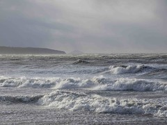 Ayr to Ailsa (KH748) Tags: sea beach water clouds landscape coast scotland spray foam flowing seashore ayrshire ailsacraig