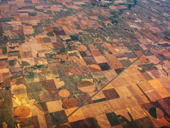 Between Heaven and Earth (Batikart) Tags: travel autumn trees vacation usa brown oktober holiday green fall nature colors lines yellow rural america canon river landscape geotagged countryside us colorado holidays quilt unitedstates natural mosaic circles patterns urlaub herbst natur felder aerialview fromabove co fields agriculture patchwork amerika ursu