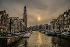 Winter in Amsterdam (sxdlxs) Tags: flowers autumn winter sunset sun holland color colour water netherlands colors amsterdam bike bicycle museum river landscape boat canal ship colours landschaft